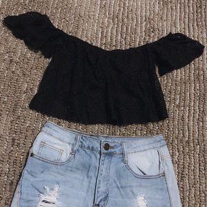 Tops - Black Off Shoulder Lace Crop Top